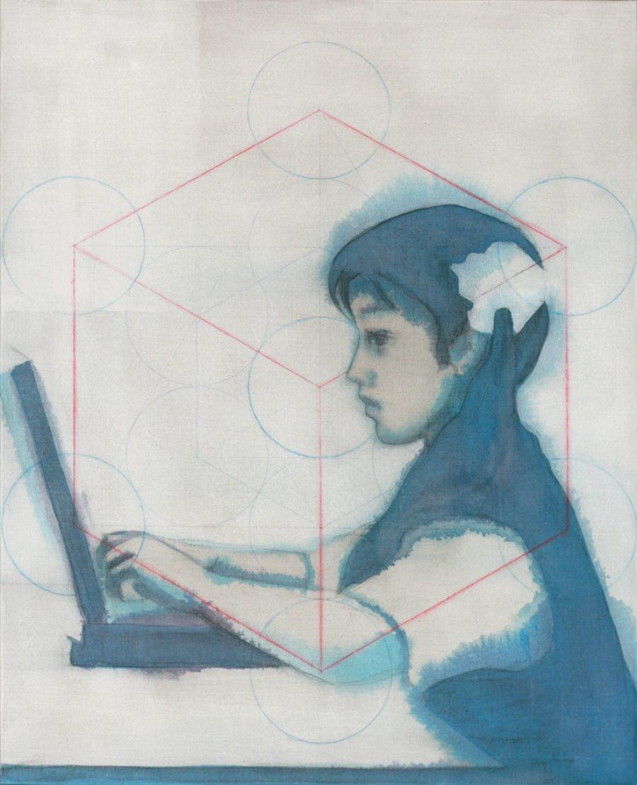 Van € 2700,-- voor € 1350,-- Metatrons Cube, 100 x 80 cm, acryl op linnen, 2010