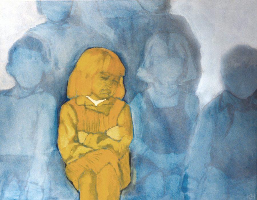 Van € 3200,-- voor € 1600,-- Rineke 100 x 120 cm, acryl op doek, 2003