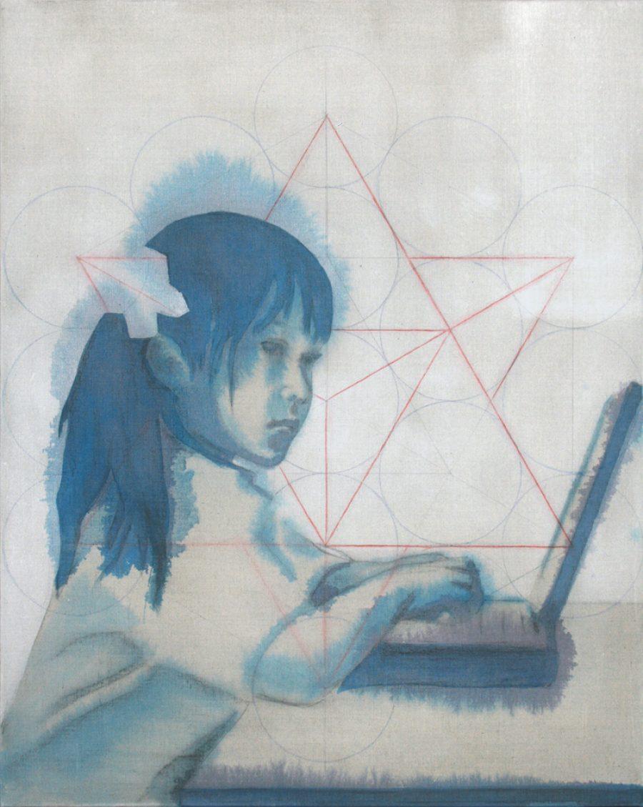 Van € 2700,-- voor € 1350,-- Tetrahedron, 100 x 80 cm, acryl op linnen, 2010