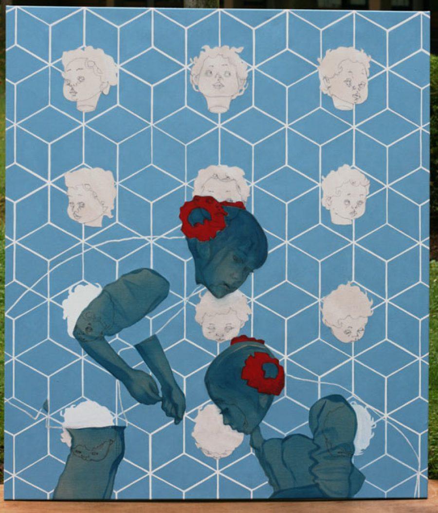 Van €4400,-- voor €2200,---, My doll Papayette, acryl op doek,  160 x 130 cm 2010