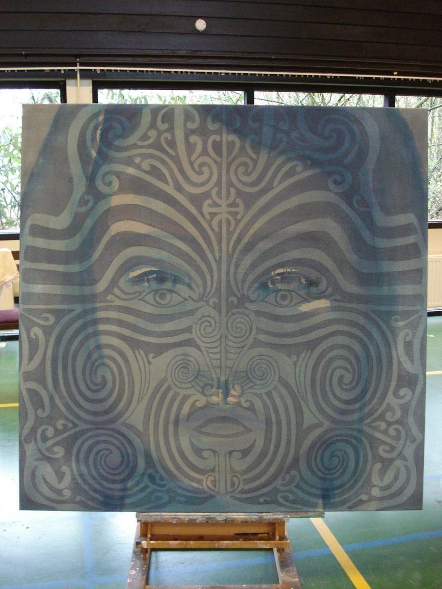 Van €4700,-- voor €2350,--, SUM #5, acryl op linnen 150 x 150 cm, 2011