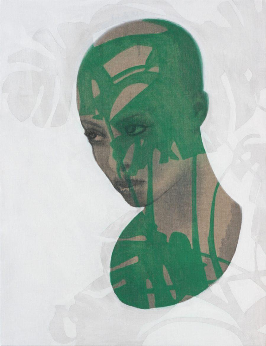 Van €3400,-- voor €1700,--  ZT  (monstera), acryl op linnen  |  130 x 100 cm  |   2010