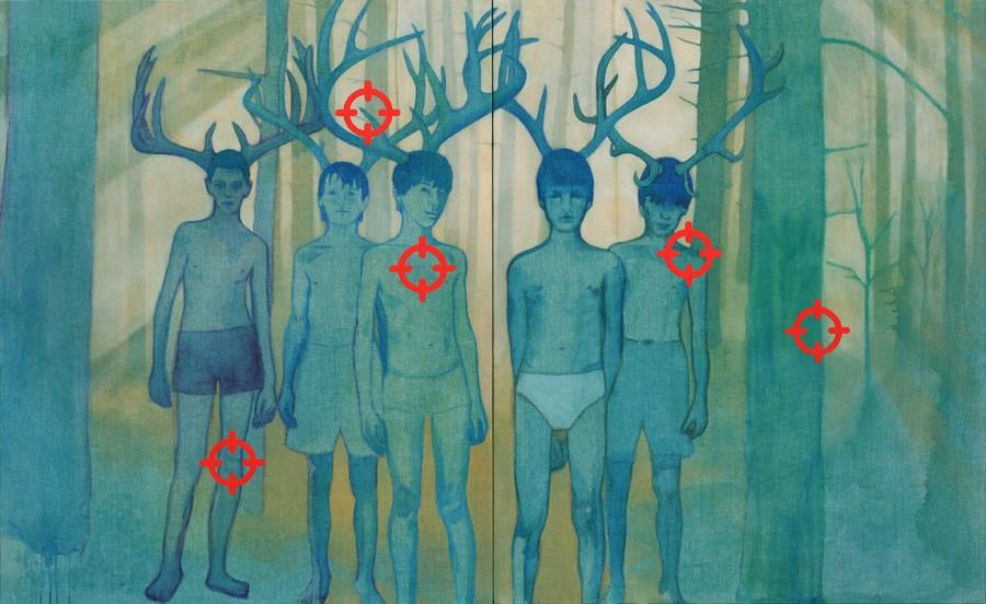 Van € 6300,-- voor € 3150,--  Deer, tweeluik  |  160 x 260 cm, acryl op linnen, 2012