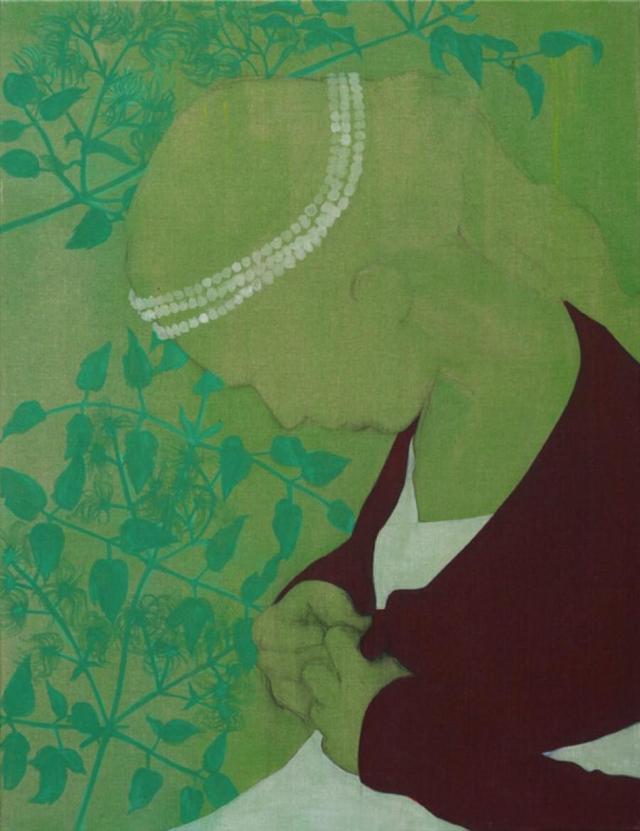 Van €3500,--  voor €1750,-- Clematis  |  130 x 100 cm , acryl op linnen, 2011