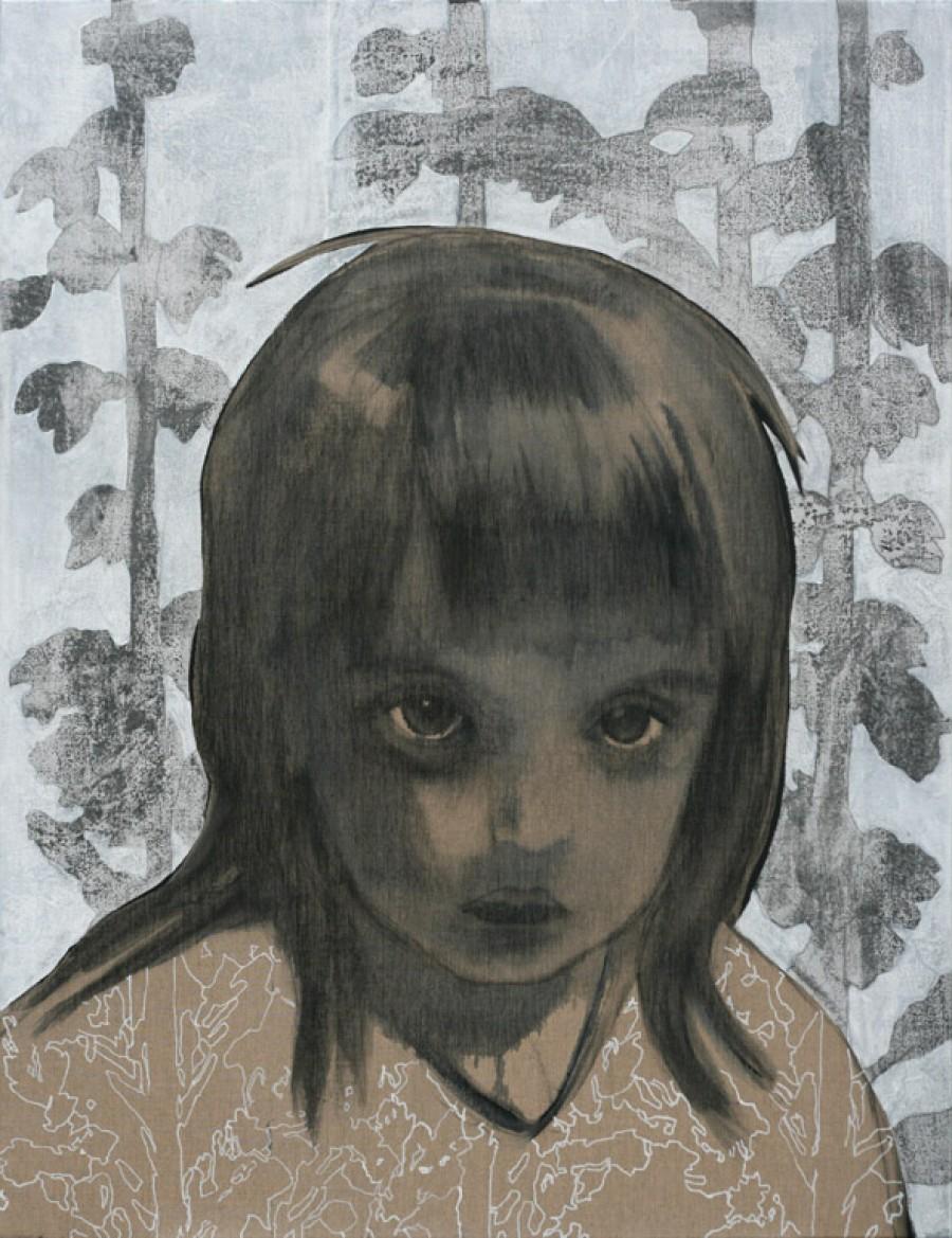 Van € 3400,-- voor € 1700,--  Heather (Bach), mixed media  |  130 x 100 cm, 2013