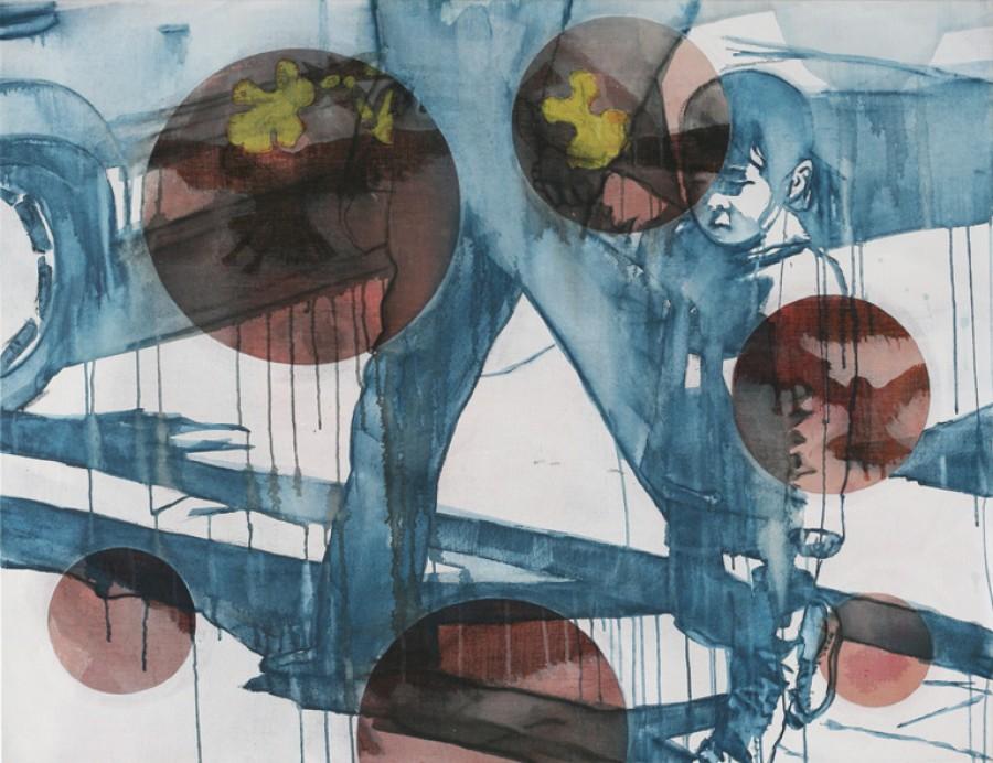 Van € 3400,-- voor € 1700,--  Mimulus (Bach), mixed media  |  100 x 130 cm, 2013