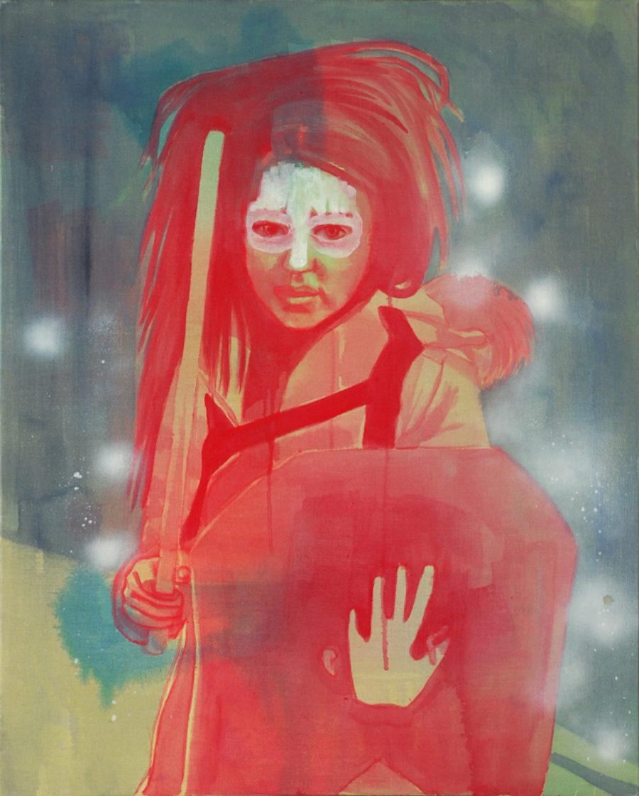 Van € 2700,-- voor € 1350,-- Part-Time Saviour #2, acryl op doek  |  100 x 80 cm  |  2014