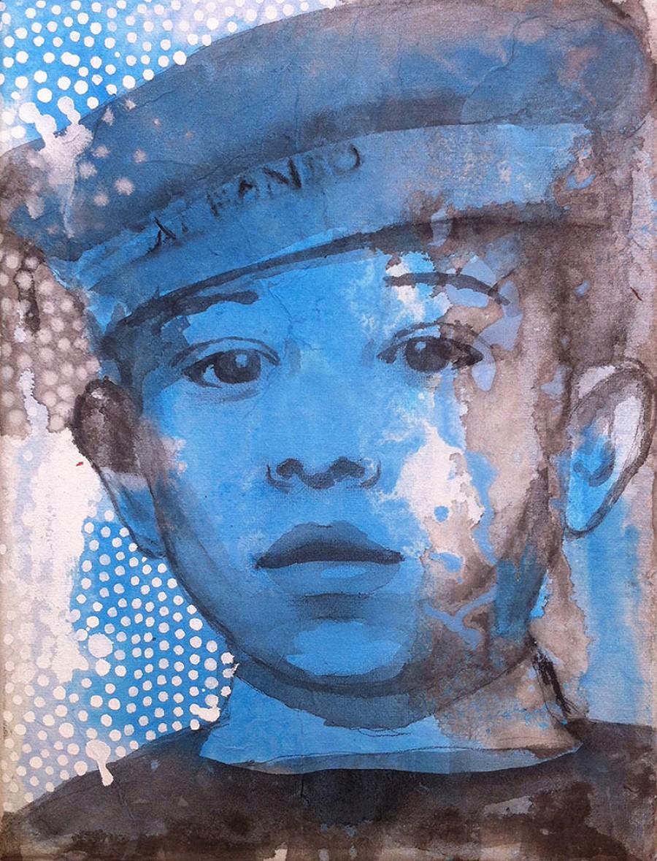 Van € 700,- voor € 350,-  Alfonso, 24 x 18 cm, acryl op doek, 2014