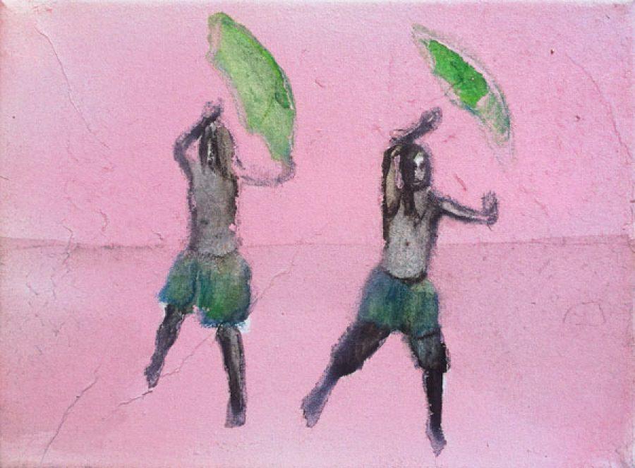 Van € 700,- voor € 350,-  Dance, 18 x 24 cm, acryl op doek, 2013