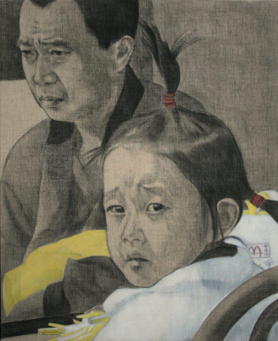 van € 3500,--  voor € 1750,--  Zonder titel (Mc Donalds), 2007, conté en acryl op linnen, 160 x 130 cm