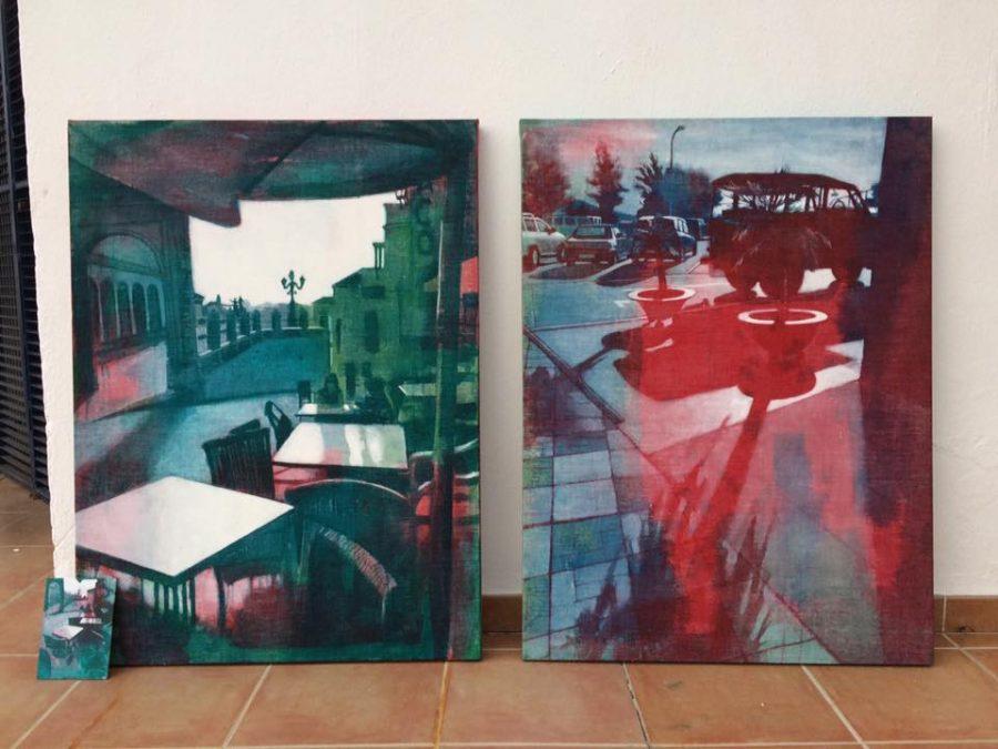 both 80 x 60 cm    .  available  at Galeria Luz de la Vida, Competa, Spain