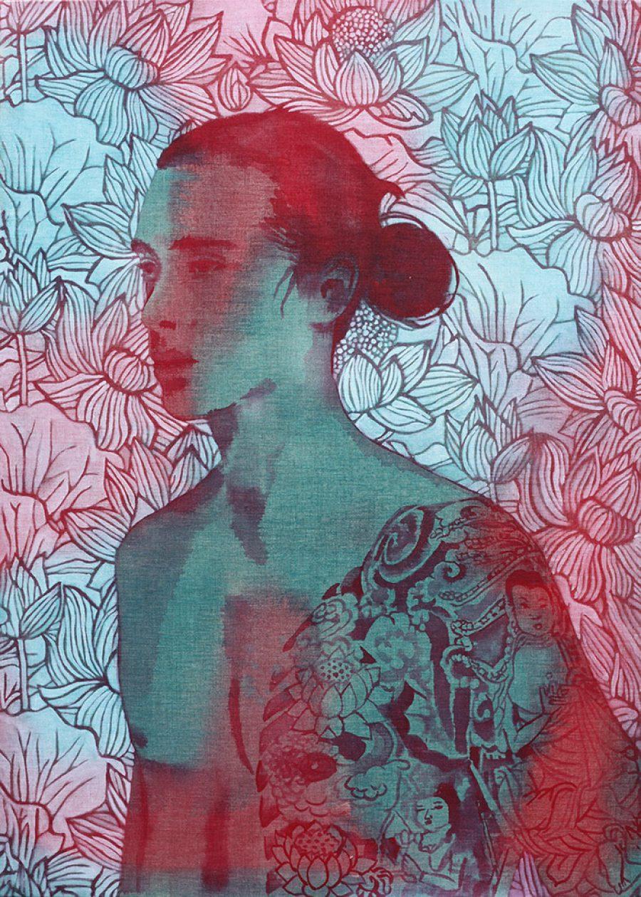 Lotus    |    140 x 100 cm    |   kunstuitleen Voorburg