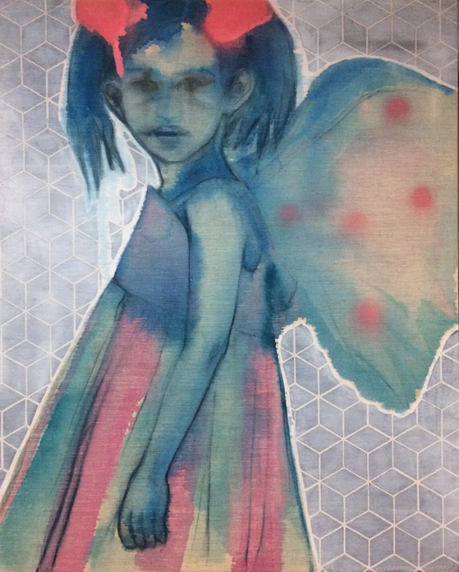VERKOCHT. Part Time Fairy #6, 100 x 80 cm, mixed media on linen, 2015