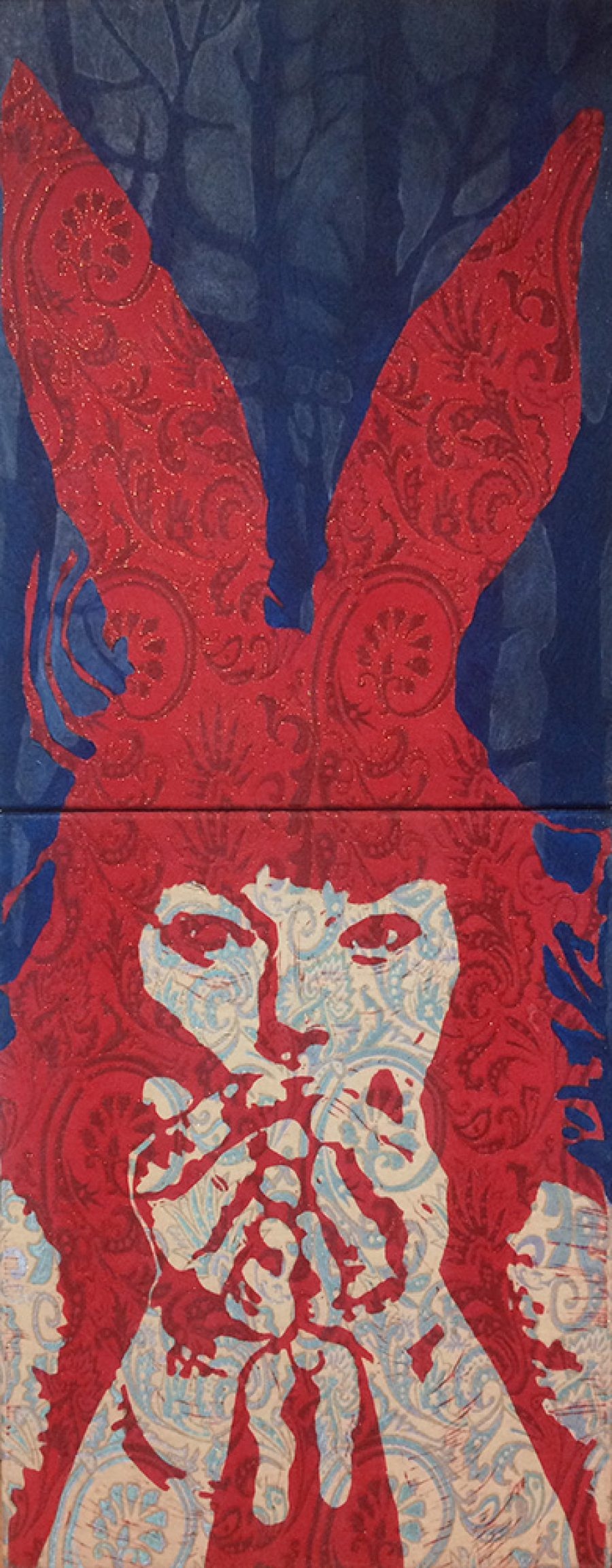 Van € 2100,-- voor € 1050,--  Rabbit Paws #4, 100 x 40 cm, tweeluik, gemengde technieken op doek, 2004