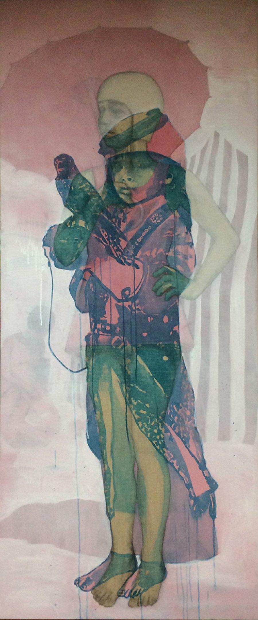 Van € 4050,- voor € 2025,--  She is my friend, 190 x 80 cm, acryl op linnen, 2016
