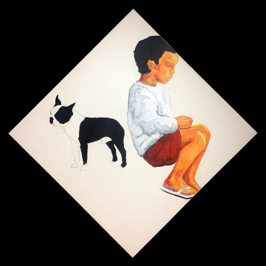 Van € 2400,- voor € 1200,--  Sit down Stand up, 80 x 80 cm, ruitvorm, acryl en potlood op doek, 2004