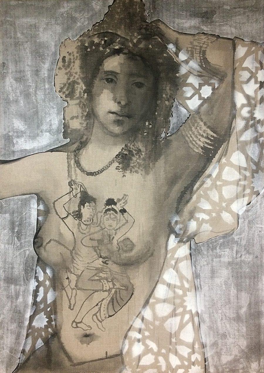 Van €3500,--  voor €1750,-- Tantric Godess  |  140 x 100 cm , gemengde techniek op linnen, 2018