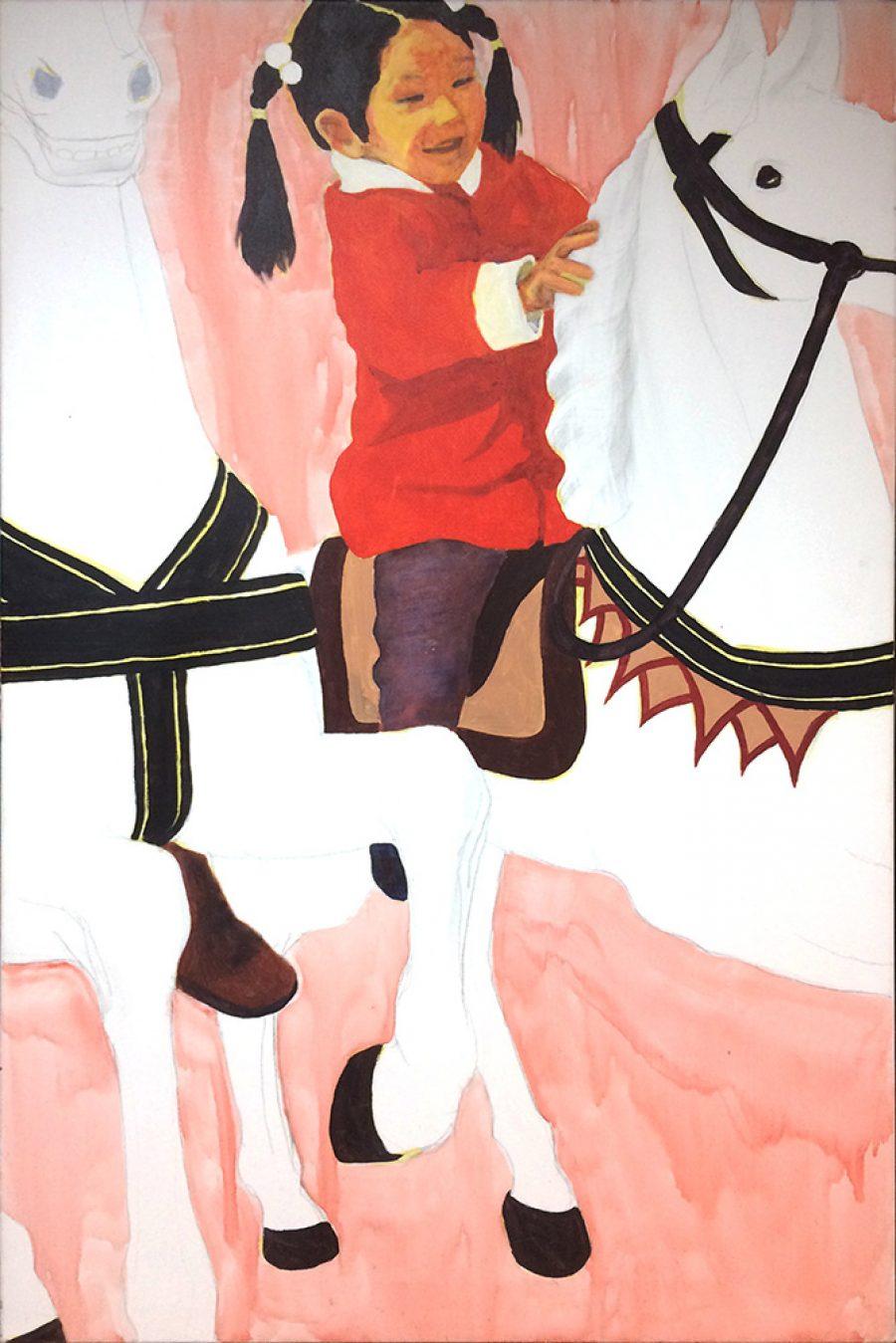 Van € 3000,- voor € 1500,--  Riding, 120 x 80 cm, acryl op doek, 2004