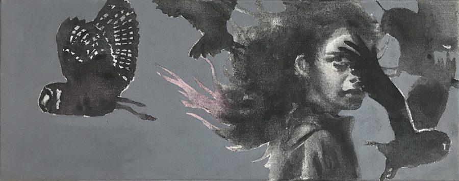 Van € 700,-- voor € 350,--  Owls, 20 x 50 cm, acryl op canvas