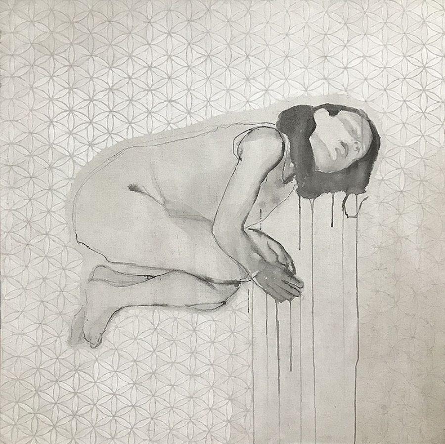 GERESERVEERD Reconciliatio et Paenitentia (het kuiken), 120 x 120 cm, potlood en acryl op linnen, 2012