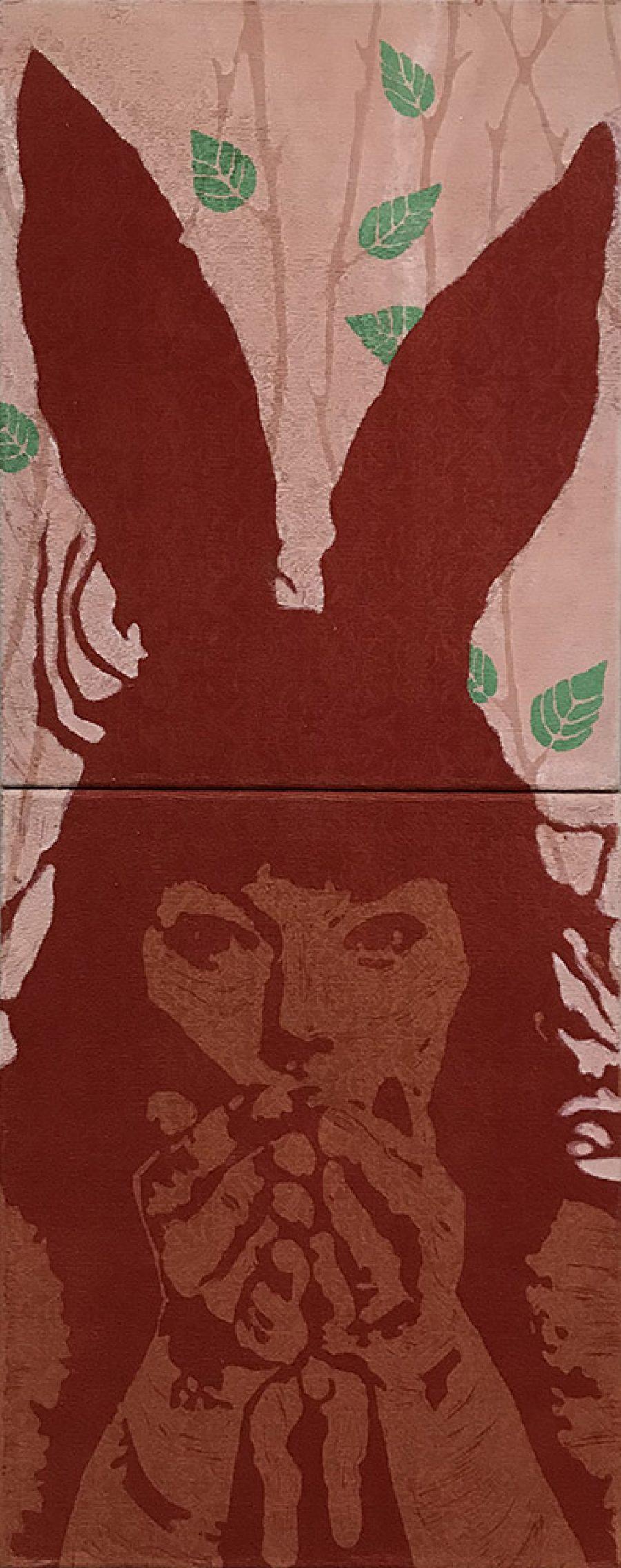 Van € 2100,-- voor € 1050,--  Rabbit Paws #3, 100 x 40 cm, tweeluik, gemengde technieken op doek, 2004