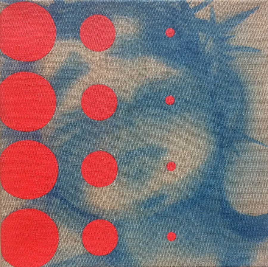 GERESERVEERD Blood Red Dots (Consuming Life series) 30 x 30 cm, acryl op linnen
